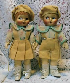 """11"""" Pair,  Brother and Sister, by Blossom Doll, original tags"""