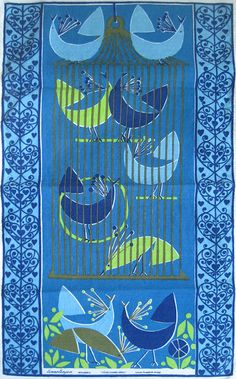 Fågelhandlaren (Bird Merchant), by Louise Fougstedt for Almedahls, Sweden. via Etsy  (MID-CENTURIA : Art, Design and Decor from the Mid-Century and beyond: Assorted Tapestries & Textiles)