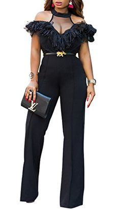 fcb6e530 Remelon Womens Halter Mesh See Through Ruffle High Waisted Wide Leg  Jumpsuits Rompers Playsuits Black L -- Click for more Special Deals ...