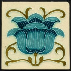 •Style: Art nouveau. A gorgeous rare tile with a bold flowerhead well painted in two blues with stems and leaves curling around in a lively celtic style. • Technique: Embossed majolica. • Maker: Mintons. | eBay!