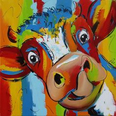 Mooi koppie Funny Paintings, Animal Paintings, Cow Painting, Painting & Drawing, Painted Milk Cans, Cow Pictures, Bright Art, Cow Art, Elephant Art