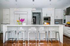 Atmosphere Interior Design - kitchens - CB2 Vapor Barstool, hardwood floors, white cabinets, white cabinetry, white kitchen cabinets, white ...