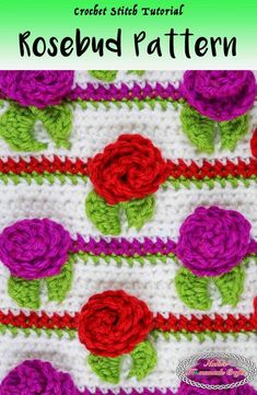Crocheting a Rosebud Crochet Stitch Pattern while making rows is much easier than it looks. These Rosebuds are alined a certain distance apart which can easily be changed to fit your needs. Check out the full photo and video tutorial for more details. Crochet Flower Hat, Crochet Flower Tutorial, Crochet Flower Patterns, Crochet Stitches Patterns, Crochet Designs, Stitch Patterns, Crochet Ideas, Knit Flowers, Crochet Tutorials