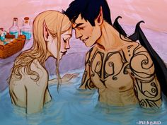 Rhysand and Feyre by meabhd