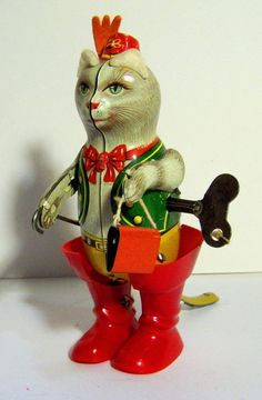 VINTAGE G.K. GREPPERT & KELCH GERMANY MADE TIN PUSS N' BOOTS WIND UP *EXCELLENT* #GKGREPPERTKELCH