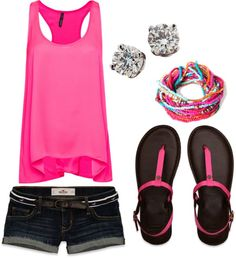 Like the bright pink and the shoes! Thinking summer with this cold weather!