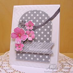 hand crafted greeting baby card .... from the tool shed ... tree branch with die cut flowers ... grays and pinks ... fresh look ...