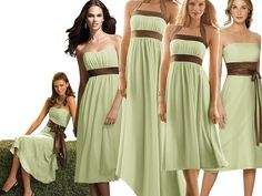 Like the green but perhaps would be better with light brown/grey accents  OR dresses would be beautiful in light purple too!