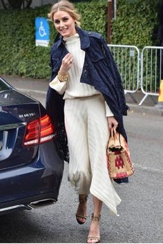 Olivia Palermo wearing Burberry Gracehill Macrame Lace Trench Coat in Navy, Gianvito Rossi Augusta Sandals, Topshop Boutique Funnel Neck Ribbed Top and Topshop Boutique Knitted Ribbed Skirt