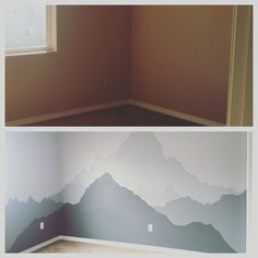 #MountainMural #BabyBoyNursery  We purchased a quart of Dark Grey Paint (closest mountain color) and already had white paint. We outline the Mountain with a pencil and then began. That is where we used the most paint and the darkest. Once we were happy with the fill in of the mountain we poured some white paint into the grey quart can. Then outline our next mountain and painted. We just continued to add white and mixed well. Very happy with the outcome for our first time!