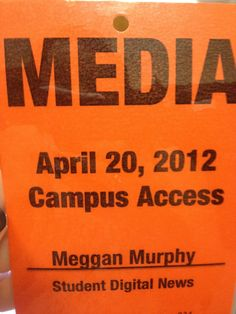 """Professor David Staton: """"Don't forget your souvenir from today,"""" speaking of my media pass on April 20, 2012. #cu420 #jmc1 #jmc2"""