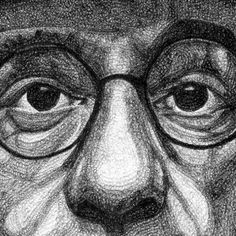 illustrator Jacob Everett has a unique style for creating large scale portraits. The 22 year old artist overlaps thousands of ballpoint ink ellipses, building up more or less to re-produce the contours of each subject's face.jacob-everett-10