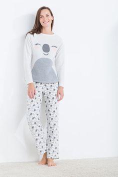 Womensecret Pijama largo polar koala beige