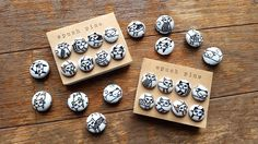 "8 Handmade Kawaii Fabric-Covered ""Neko Neko"" Button Push Pin Set. by niconecozakkaya on Etsy"