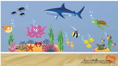Shark - Ocean Fish Room Fabric Wall Decals by JanetteDesign on Etsy, $160.00