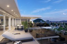 Architectural visualization of a luxurious terrace in a beautiful blue light . Style At Home, New Age, Architecture Design, Mansions, Luxury, House Styles, Beautiful, Legends, Home Decor