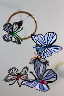 Recycled Milk Jug Butterfly Mobile. What a great idea! #ecofriendly