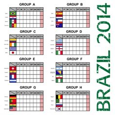 World Soccer Cup In Brazil – Score Tables By Groups  #Soccer #WorldCup #2014 #Countries