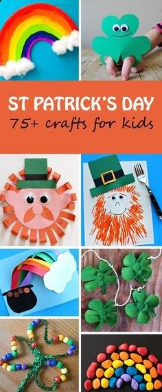 St Patricks Day crafts for kids: rainbow, leprechaun and shamrock (clover). Craft with paper plates, paper, egg carton, rocks, beads, tissue paper and more. Make hats, bracelets, decorations, puppets. | at Non-Toy Gifts