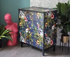 Upcycled Mid Century Vintage Retro Chest of Drawers Navy Lemur Decoupage, Upcycled Furniture, Furniture Art by ThriftysRetro on Etsy