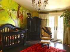 Jungle-Theme hospital rooms | Nursery - Jungle Baby, Custom Mural, Wallpaper, | Baby room decor