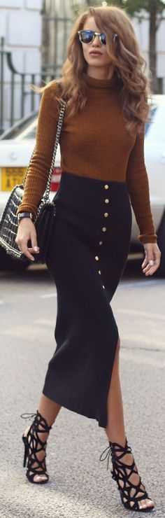 Black Button Long Pencil Skirt L F W Fall Inspo