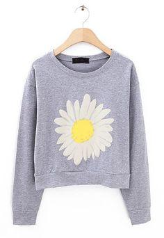 Grey Long Sleeve Sunflower Print Crop Sweatshirt - Sheinside.com