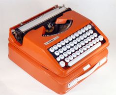 Vintage 60's Hermes Baby Orange Spanish Version Ñ Typewriter Case Modernist   eBay