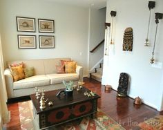 An Eclectic Indian Home Tour - Whats Ur Home Story. Tiny corner waiting area inspiration.