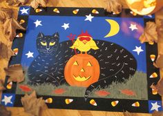 Painted Halloween floor cloth by Sheila Haynes Rauen
