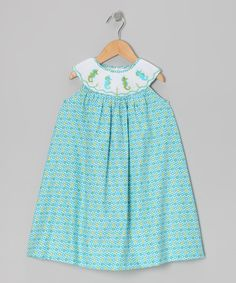 Take a look at the Blue Seahorse Smocked Yoke Dress - Infant, Toddler & Girls on #zulily today!