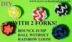 How to make bouncy balls toy with two forks. Without loom. rubber band b...