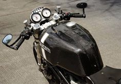 Carbon Fiber Accessories, Cases, and Jewelry Bobber Custom, Custom Cafe Racer, Motorcycle Store, Cafe Racer Motorcycle, Ducati Cafe Racer, Cafe Racers, Ducati Monster Custom, Gas Scooter, Custom Bikes