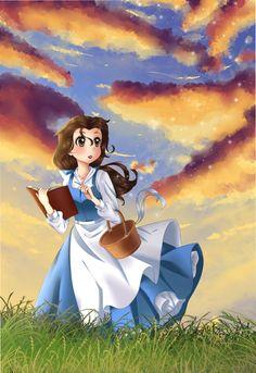 Anime Belle from Beauty and the Beast Disney Princess Movies, Disney Princess Belle, Disney Songs, Walt Disney, Disney Magic, Disney And Dreamworks, Disney Pixar, Disney Characters, Disney Fan Art