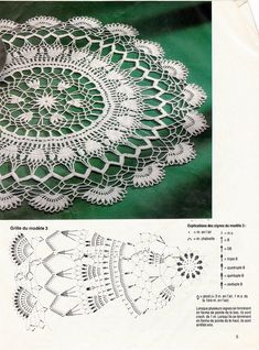 "Photo from album ""Diana idees mailles on Yandex. Crochet Doily Diagram, Crochet Doily Patterns, Filet Crochet, Irish Crochet, Crochet Books, Crochet Home, Thread Crochet, Crochet Table Topper, Crochet Tablecloth"