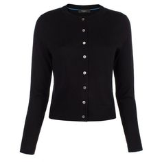 Paul Smith Women's Black Merino Wool Cardigan With Blue Cuff Linings ($220) ❤ liked on Polyvore featuring tops, cardigans, crew neck cardigan, black top, crewneck cardigan, collar top and cardigan top