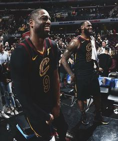 Dwayne Wade and Lebron James Cleveland Cavaliers I Love Basketball, Basketball Pictures, Nba Players, Basketball Players, Cavs Wallpaper, Lebron James Cleveland, Kevin Love, Dwyane Wade, Sports Images