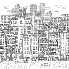 Sand City – Illustration on Behance Proceso animado. City Drawing, House Drawing, Colouring Pages, Adult Coloring Pages, House Doodle, Buch Design, Ink Pen Drawings, City Illustration, Painting Process