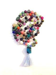Handmade 108 Knotted Mala Beads - Multiple Stone, Light Blue Tassel by arkaedesigns on Etsy