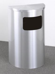 Glaro 6 Gallon Half Round Side Opening Trash Can With Hinged Lid