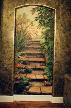 wall mural of garden steps Faux Painting, Mural Painting, Mural Art, Wall Art, Paintings, Interior Painting, Garden Mural, Door Murals, Painted Doors