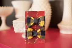 Upcycled Dress Shirt Cuff Hair Bow Set by NewCreatures on Etsy
