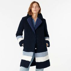 J.Crew: Teddy Sherpa Topcoat In Colorblock For Women Faux Fur Jacket, Outerwear Women, Clothes Horse, Top Coat, Ladies Day, Cashmere Sweaters, Color Blocking, Street Style, Womens Fashion