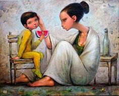 illustration by Gary Nikolai Angelov Sweet Watermelon, Apple Art, Black Mother, Mexican Art, Clothing Hacks, Mother And Child, Contemporary Artists, Impressionism, Painting & Drawing