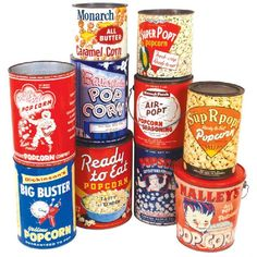 Collection of vintage popcorn tins. Puffy Pete is my favorite.
