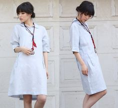 All in a Row Lovely Linen Short Dress by Ramies on Etsy