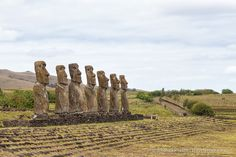 Moai statues on Easter Island at Ahu Akivi