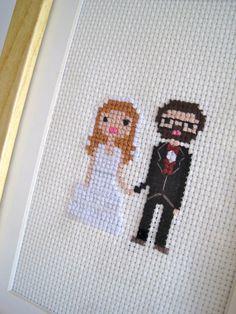 Custom Cross Stitch Pixel Wedding Portrait (Framed). $35.00, via Etsy.