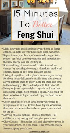 15 minutes to better feng shui | GatesInteriordesign.com