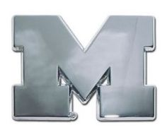 University of Michigan Wolverines Silver Chrome Auto Emblem with M Letter Logo is for the University of Michigan or NCAA, Michigan Wolverines spors fan in a chrome large University of Michigan logo.